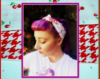 Betty Bandana in Cherry & Houndstooth Print ....Rockabilly Hair Bandana Bow...New Size and Style