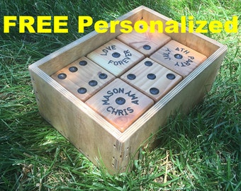PERSONALIZED Set of 6 Yard Dice for Outdoor & Indoor Fun Games; like Yahtzee, Farkle, Around-The-World. Play in BackYard,Family Picnic Party