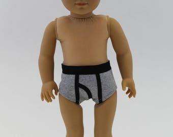 """18 Inch Boy Doll Clothes - Boy Doll Underwear - Clothes for AG Boy Doll - Gray and Black - 18 Inch Boy Doll Underwear - 18"""" Boy Doll"""