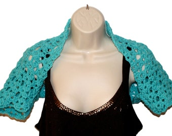 Crochet Shrug, XL Bolero, Womens Bolero, Plus Size Shrug, Turquois Shrug, Womens Plus Size, XL Clothing, Layered Look, Blue Bolero