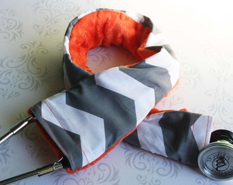 Padded Stethoscope Cover - Nurse, Doctor, Med Student, Medical Assistant - Nurse Gift - Dark Gray Chevron with Orange Minky