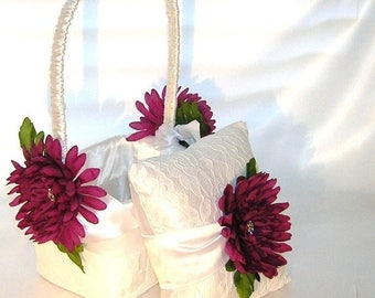 On Sale White Satin With Lace Overlay Flower Girl Basket Featuring  Wine Colored Chrysanthemums