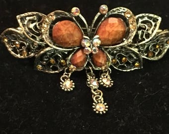 Coffee colored butterfly barrette!