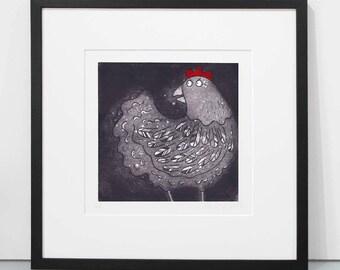 Cluck - chicken print, hen print, chicken art print, hen art print, chicken etching, hen etching print limited edition of 150 chicken prints