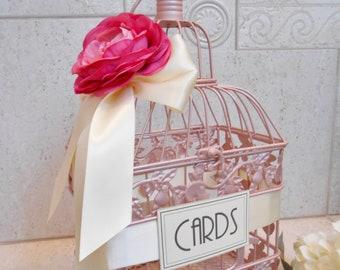 Pink Champagne Wedding Birdcage Card Holder | Wedding Card Box | Envelope Holder | Wedding Birdcage | Pink Wedding Decor | Pink Birdcage