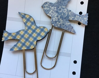 Jumbo Planner Clips-Handmade Bird and Butterfly Paper Clips Bookmark-Document Faith-Fabric Planner Accessories-Bible Journals-Planner Page