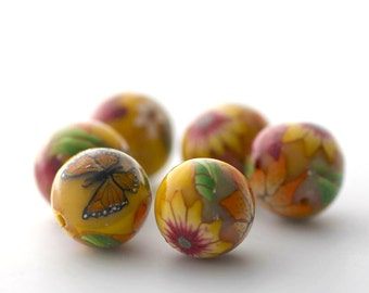 Sunshine Yellow Beads, Polymer Clay Beads, Flower Round Beads with Monarch Butterfly, 6 Pieces