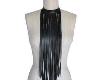 Black Leather Fringe Choker Fringe Bib Fringe Necklace Boho Scarf, Long fringe Necklace, Goth Midnight black Lambskin Leather fringe choker