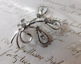 Vintage Sterling Silver and Rhinestone Pin or Brooch