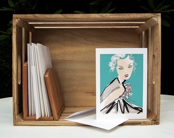 Turquoise Fashion Art Portrait Card - Blank Greeting Card - 5x7 Card