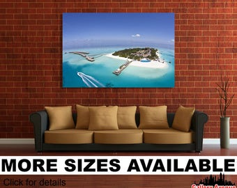 Wall Art Giclee Canvas Picture Print Gallery Wrap Ready to Hang Maldives Seychelles Tropical Island Resort 60x40 48x32 36x24 24x16 18x12 3.2