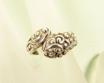 Sterling Silver Wrap Ring - Vintage Scroll Vine Raised Relief Size 7