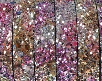 Beautiful leather flat synthetic - 10x2.4mm - sequin - pink - 20 cm - CPUPL1015RO299