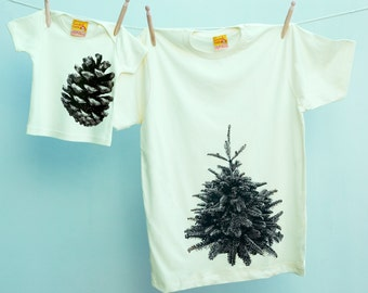 Matching Father T shirt Pine Tree and Pine Cone Twinset for Dad and Son or Daughter on organic cotton Tshirt T-Shirt