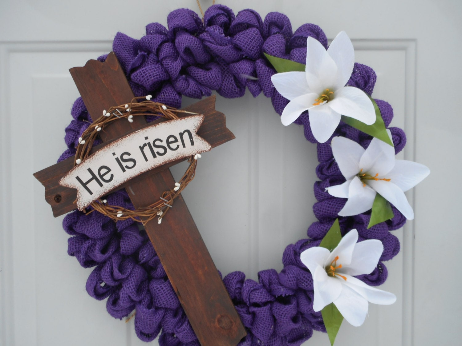 Easter burlap wreath Burlap Easter Cross wreath Christian