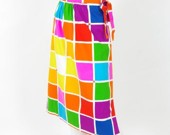 1960s Vintage Mod Gold Studded Color Block Knee Length Skirt Sz S M