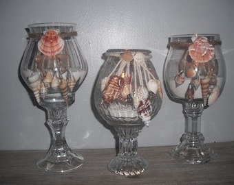 3 upcycled Beach Wedding centerpieces ... beach cottage shell candle pedestals