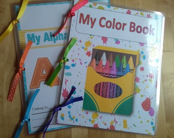 Preschool or Kindergarten busy work book bundle - ABC's and Color