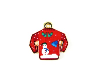 Gold Plated Red Ugly Christmas Sweater Charms (2x) (K314-A)