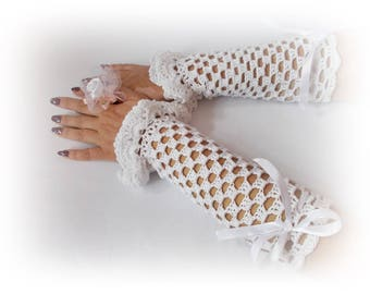Wedding gloves White lace fingerless glove Crochet gloves special occasion Wedding feshion Crochet mittens Fingerless gloves Vintage Wedding