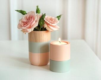 Jour de fête des mères cadeau Vase en bois et bougie détenteurs du foyer