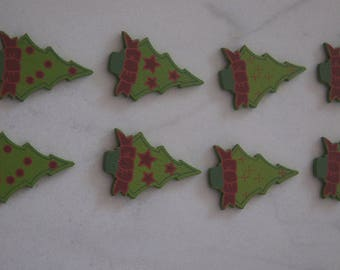 8 EMBELLISHMENTS Christmas trees