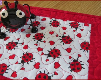 Quilted Mug Rug, Candle Mat, Ladybugs Heart, Kitchen Decor, Table Decor 413