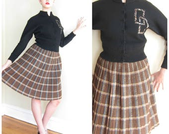 Vintage 1950s Plaid Skirt Alex Colman in Brown / 50s A Line Pleated Schoolgirl Skirt / Small