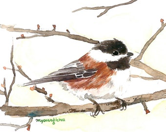 ACEO Limited edition of 2/25- On wings of fresh air, Chickadee, Bird art print of an original ACEO watercolor, Gift for her, Bird lovers