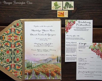 Vineyard Wedding Invitations - Custom Watercolor Invitation Suite - Winery Invites - Florentine Design - Invitation Suite