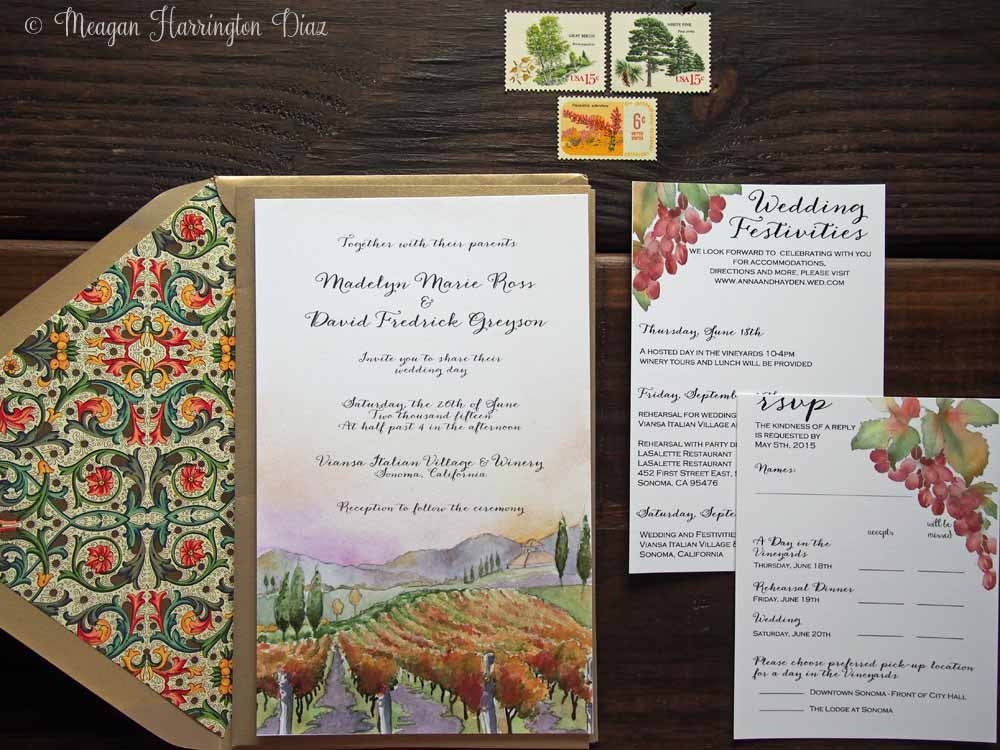 Vineyard Wedding Invitations Custom Watercolor Invitation