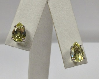 Natural Green Gold Quartz Stud Earrings 925 Sterling Silver