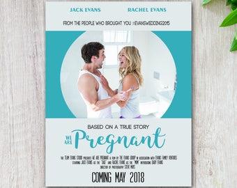 Movie Poster Pregnancy Announcement Custom Social Media Pregnancy Announcement Printable Download Due Date Instagram Facebook Having a Baby