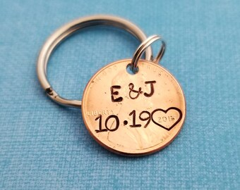 Custom Penny Keychain, Anniversary Gift for Men, Lucky Penny, Anniversary Gift for Husband, Personalized Lucky Penny