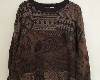 Vintage Multi Print Sweater With Leather Accents