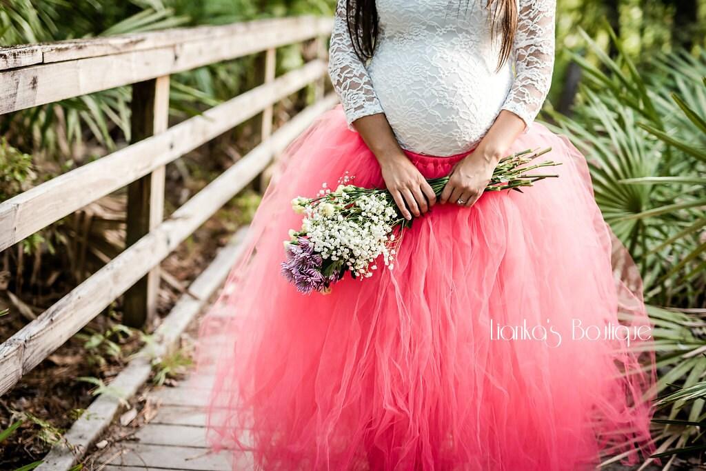 Full Length Fluffy Maternity Tutu Skirt Engagement