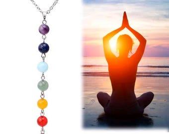 Charming 7 chakra bead balancing necklace