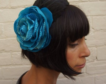 Turquoise polkadot recycled vintage satin rose flower fascinator headpiece with black feather wing