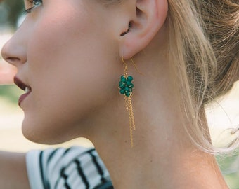Gold & Green Apatite Drop Earrings | Cluster Earrings | 14k Gold Earrings | Gemstone Earrings | Green Earrings | Long Earring | Gift for Her