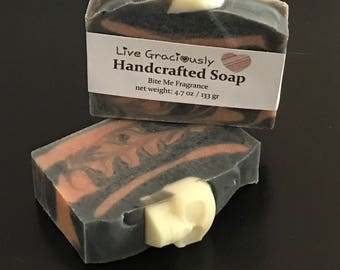 Halloween soap with glow in the dark soap skull - orange and black glow in dark soap with shea butter