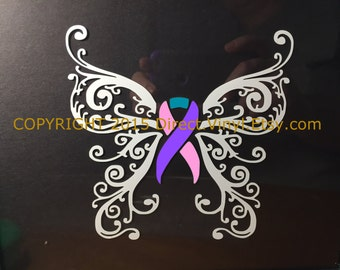 Pink/Purple/Teal Awareness Ribbon Fancy Butterfly Window Decal (thyroid cancer)