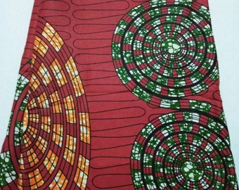 Red, Green, orange wax print African fabric per yard, cotton print fabric for making clothing, Accessories