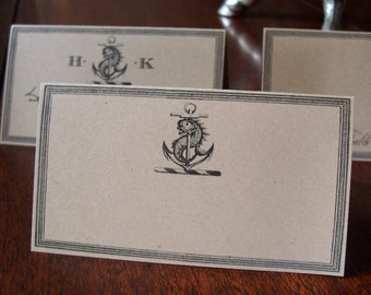 Beach Wedding Place Cards ,Anchor Fish ,Ocean Sea Nautical Escort Cards, 60 Blank Kraft or Cream Seating optional Monogram ,Entertaining