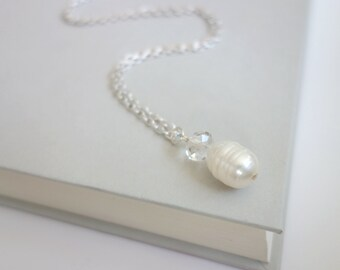 Pearl pendant necklace white freshwater pearl chain necklace minimalist pendant necklace for women