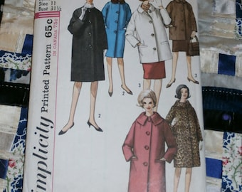 "1960s Simplicity Pattern 5103 for Juniors Coat in Two Lengths, Size 11, Bust 31 1/2"", Waist 24 1/2"", Hip 33 1/2"", Uncut"
