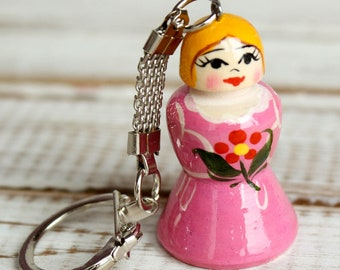 Russian classic matryoshka doll wooden hand painted toy trinket 004193