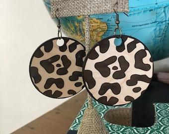 Etched Wood Leopard Print Earrings - Laser Etched Wood Earrings - Laser Cut Wood Jewelry - Wood Earrings - Leopard Print Earrings