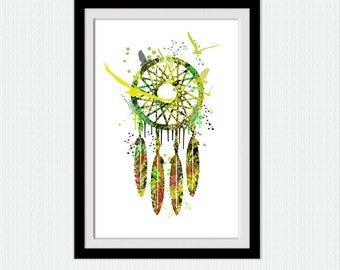 Dream catcher colorful poster, watercolor dream catcher print, home decor, nursery gift, living room, kids room, wall hanging art,  W127