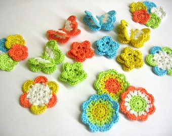 Handmade Crocheted Colorful Flower Applique Motifs and butterflies 23 pc