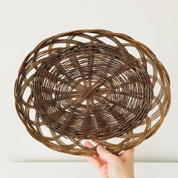 Vintage Brown Wicker Braided Basket Dark Brown Flat Woven Rattan Boho Decor